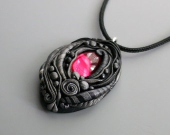 HalfOffSale Pendant Necklace Polymer Clay, Black and Antique Silver with Vintage Rose Pink Cabochon