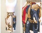 40% SALE 80s novelty print skirt / Mondi fashion, mini wrap skirt / Arabian Nights, Turban men + Elephants / bold rayon short novelty skirt,