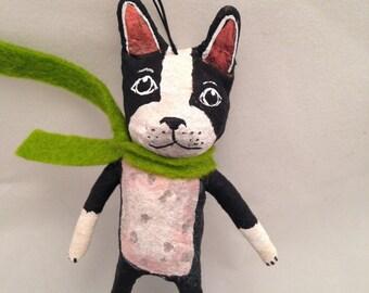 Spun Cotton Boston Terrier ornament by Maria Paula
