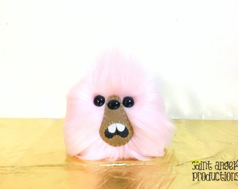 Light Pink Monster Furry Blob Plush, Weird Fluffy Pastel Handmade Fuzzy Plushie, READY TO SHIP