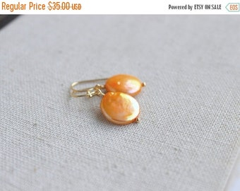 Love You Sale Flame Gold Coin Pearl Baroque Dangle Gold Earrings GE10Gold