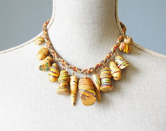 1930s Wood Dangle Necklace Miriam Haskell esque Bib Painted Woven Primary Colors