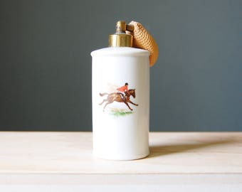 Vintage 1950s Perfume Bottle with Fox Hunt Horse and Rider Porcelain