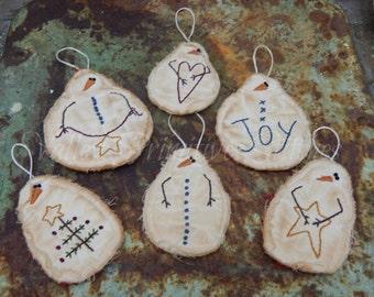 Hand Stitched Snowmen Ornaments, Set of 6