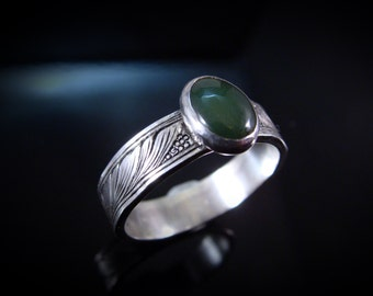 Hand Engraved Sterling Silver Ring With Jade Cabochon