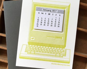 letterpress vintage computer mini calendar 2017