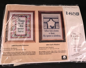 Vintage New in Package The Creative Circle Stitchery Kit for Peaceful Welcome Counted Cross Stitch Picture