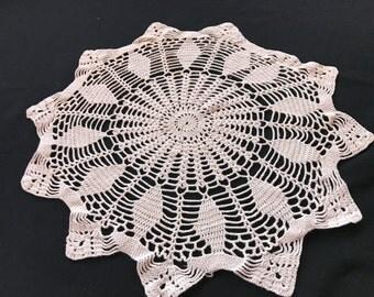 Vintage Hand Crochet Ecru Doily