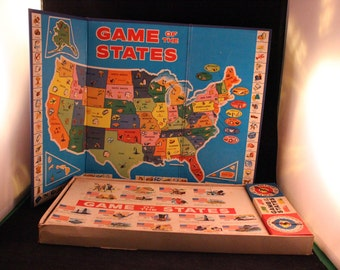 Vintage 1960 Milton Bradley Game of the States Board Game