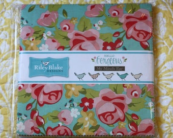 "SALE 10"" inch squares HELLO GORGEOUS charm pack fabric by Riley Blake by My Mind's Eye - Jen Allyson"