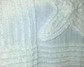 Vintage Chenille Bedspread fabric pieces, white flower F-25