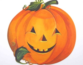 Vintage 1960s Grinning Jack O Lantern Halloween Die Cut Decoration by Hallmark