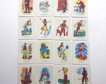 Miniature Vintage Old Maid Playing Cards for Children Set of 16