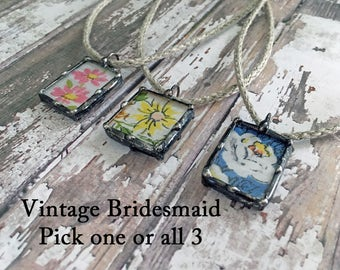 Vintage Textile Jewelry, Vintage Wedding, Bridesmaid Gift, Boho, Mothers Day, Soldered Glass Charm, Recycled Vintage, Hankies, Handkerchiefs