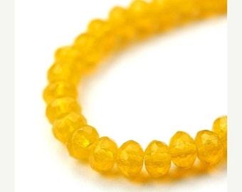50% OFF SALE Czech Glass Beads Fire Polished Gemstone Donuts 3x5mm Light Orange Opal (30) CZF558