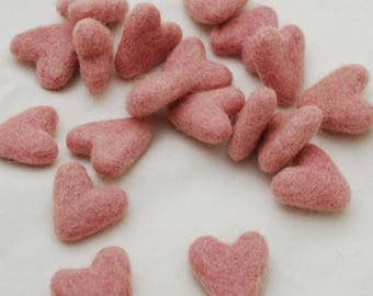 3cm 100% Wool Felt Hearts - 10 Count - Pastel Pink