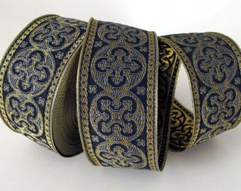 2 yards  BYZANTINE Jacquard trim in metallic antique gold on charcoal grey. 1 5/8 inch wide. 958-R