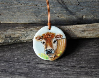 Sweet Brown cow necklace - fused glass pendant