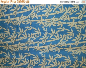 Batik Fabric 1970's Indonesian Batik, Bamboo Tropical  Blue & White, Java Batik, Linen Fabric, Javanese, Summer Time Fabric, Circa 1970s