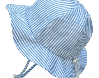 Kids Sun Hat with Chin Strap, Drawstring Adjust Head Size, Breathable 50+ UPF (Blue Stripes)