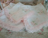6 dainty vintage pale pink roses napkins, pink lace trim, tissue sheer hankie fabric, feminine charm, chic cottage, tea party, luncheon