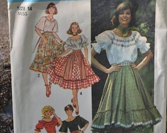 Vintage 70s Sewing Pattern Simplicity 7842 Ruffled Peasant Top and Prairie Skirt Uncut