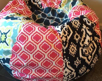Bohemian bean bag chair with pink geometric, tile and ikat Made to Order with Cover and Liner you add fill