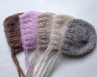 Alpaca silk hand knitted newborn baby bonnet