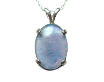 Opal Triplet sterling silver pendant with chain