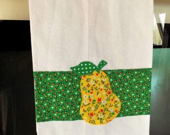 Pear Cotton Kitchen Dish Towel, Applique Fruit Embellished Woven Cotton Towel, Green and White Hanging Tea Towel