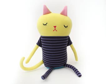 "Cat Sleepy Kitty in Pajamas ""Sweets"" Cotton Monster Plush"