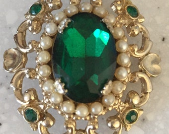 1919 Costume Emerald with Seed Pearls Coro Jewelry Brooch