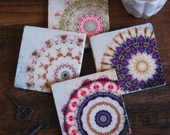 Mandala stone coaster set - kaleidoscope, gift idea, gift for her, housewarming gift, spring decor
