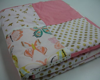 Wingspan Butterflys Minky Blanket  38 x 50 READY TO SHIP On Sale