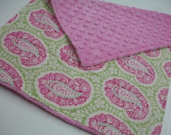 Henna Paisley with Hot Pink Minky Baby Burp Cloth 14 X 20 READY TO SHIP On Sale