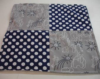Elephants You Are My Sunshine Navy and Gray Four Square Baby Minky Burp Cloth 12 x 12 READY TO SHIP
