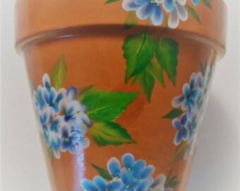 Hydrangea Flower Pot  Hydrangeas Clay Pot Hand Painted Hydrangea Flowers Pot