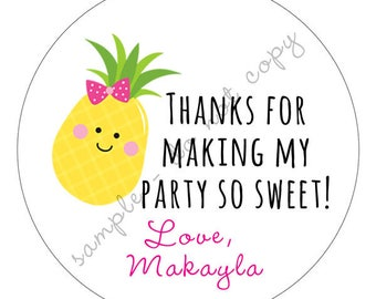 Pineapple Sweet Summer Party Thank You PERSONALIZED Stickers, Tags, Labels, or Cupcake Toppers, various sizes, printed & shipped