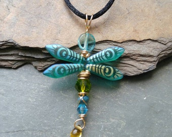 Czech Glass Dragonfly Pendant Necklace in Aqua