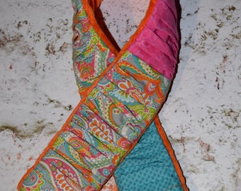 deluxe Plush  Camera Strap Cover with minky backing Aqua Turquoise Blue / Grey / Pink / Orange  mixed prints ruffled patchwork