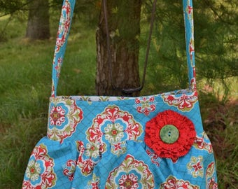 """The """"BETH""""  Bag  in Blue / Green / Red Floral  print fabric * SINGLE STRAP"""