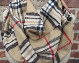 Plaid Infinity Scarf beige tartan neck wrap soft flannel cowl cozy Boho chic loop Warm winter Muffler preppy Check Checkered Accessory gift