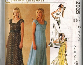 Titanic Jump Dress Gown Formal McCalls Pattern 2035 Sizes 10-12-14 Rose UNCUT High Low Hi-Lo Empire waistline