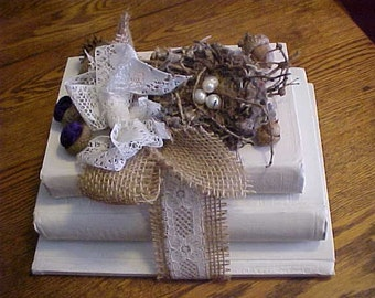 BOOK STACK w/BIRDNEST~3 Antique Book Bundle~Years~1889~1897~1922~Art Embellished Books~Book Stack Art~Old Decorated Books~Book Bundle~Books