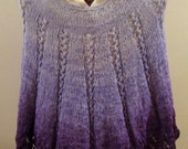RESERVED for Gwenuvere Regal Purples Lacy Hand-knit Poncho