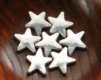Silver Star Beads 13mm - Set of 20 - Antique Silver Star Shaped Beads, Lead Free and Nickle Free Spacer Beads (SBD0024)