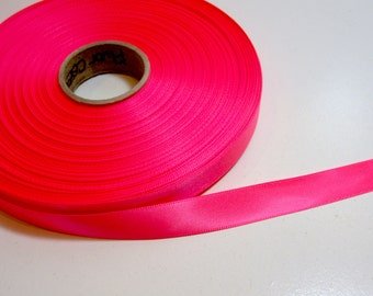 Neon Pink Ribbon, Double-Face Neon Coral Pink Satin Ribbon 5/8 inch wide x 10 yards