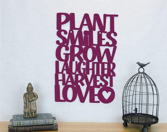 Gardeners Wood Sign, Motivational Sign, Plant Smiles Grow Laughter Harvest Love, Wood Quote Sign, Wood Text Wall Art
