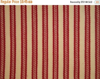 CYBER WEEK SALE Red Ticking Material | Cotton Ticking Material | Red Stripe Material | Twill Ticking | 35 x 44