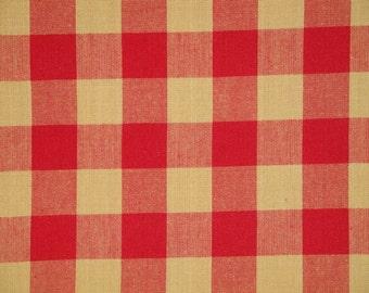 Buffalo Check Fabric | Red And Tan Buffalo Check Fabric | Farmhouse Check Fabric | Home Decor Fabric | 1 Yard